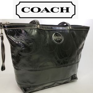 Coach Signature Stripe Patent Leather Tote